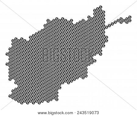Football ball Afghanistan map. Vector territorial scheme on a white background. Abstract Afghanistan map concept is constructed from soccer balls. Mosaic pattern is based on hexagonal matrix. stock photo