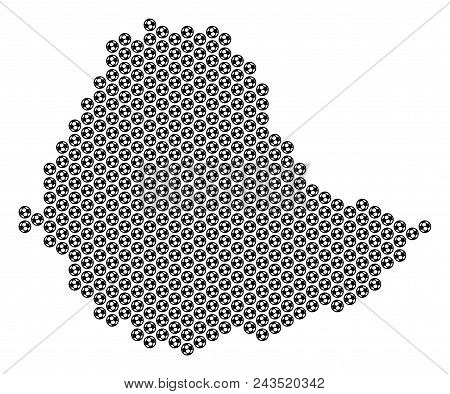 Football ball Ethiopia map. Vector territorial plan on a white background. Abstract Ethiopia map composition is created of soccer spheres. Mosaic pattern is based on hex-tile array. stock photo