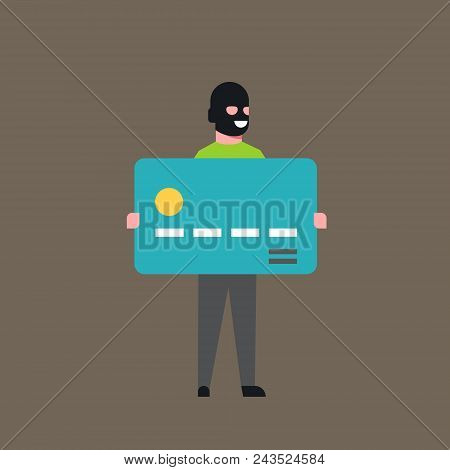 Thief Hold Bank Credit Card Man In Mask Stolen Money Cash Account Hacker Activity Concept Viruses Data Privacy Attack Flat Vector Illustration stock photo