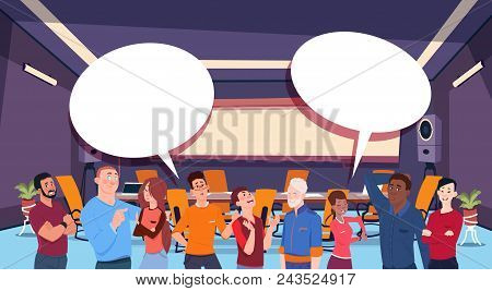 casual people group chat communication bubble, businesspeople discussing communication social network flat vector illustration stock photo