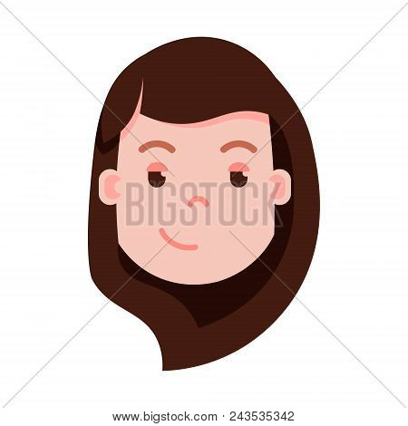 girl head emoji personage icon with facial emotions, avatar character, woman cunning face with different female emotions concept. flat design. vector illustration stock photo