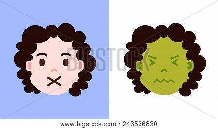 set girl head emoji personage icon with facial emotions, avatar character, sickness and silence face with different female emotions concept. flat design. vector illustration stock photo