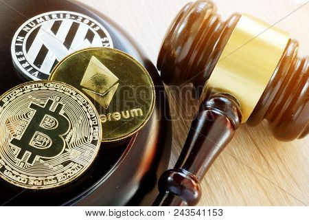 The Gavel And Cryptocurrency. Government Regulation Concept.