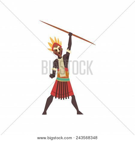Warlike black native man of African tribe holding spear vector Illustration isolated on a white background. stock photo