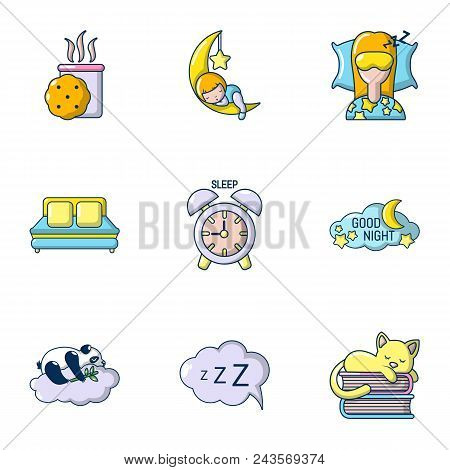 Sweet dream icons set. Cartoon set of 9 sweet dream vector icons for web isolated on white background stock photo