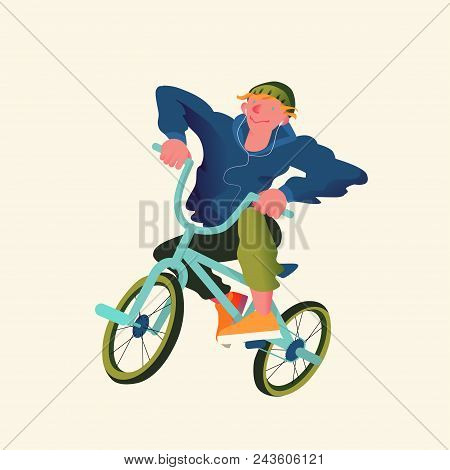 Guy By Bicycle Bmx Extreme Sport. Freestyle Bmx Riders In Flat Style. Vector Illustration.
