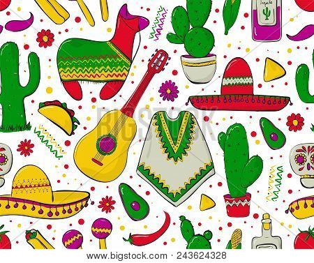 Feesta and Latin American festivals. Seamless pattern on mexico theme. Traditional Spanish objects. Poncho and sambrebo. Guitar and maracas. Tequila with cactus. vector print stock photo