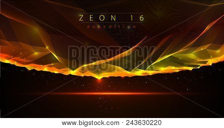 Fantastic space planet terrain vector illustration, cosmos science fiction great 3d design. Usable as abstract background with copy space for title and text. stock photo