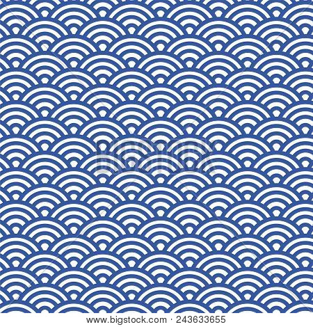 Sashiko seamless pattern with traditional Japanese embroidery, vector illustration. Traditional Japanese Folk Seigaiha stock photo