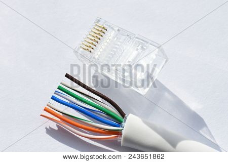 Twisting Cable Tool Twisted Pair Ethernet UTP Cat 5 stock photo