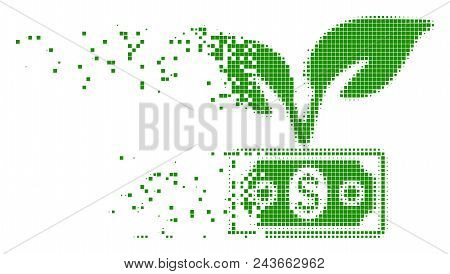 Dispersed eco startup gain dot vector icon with wind effect. Rectangular dots are composed into damaging eco startup gain shape. Pixel burst effect shows speed and movement of cyberspace items. stock photo