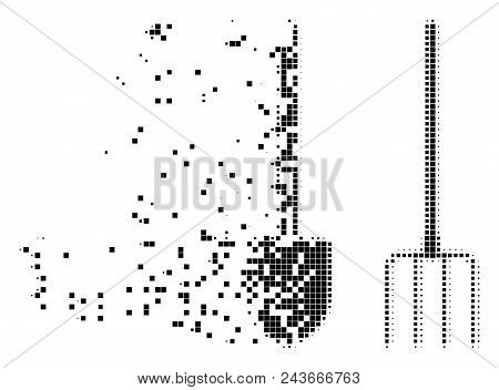 Fractured pitchfork and shovel tools dot vector icon with wind effect. Rectangular cells are organized into dispersed pitchfork and shovel tools form. stock photo