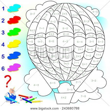 Educational page with exercises for children on addition and subtraction. Need to solve examples and to paint the image in relevant colors. Developing skills for counting. Vector image. Hot air balloon stock photo