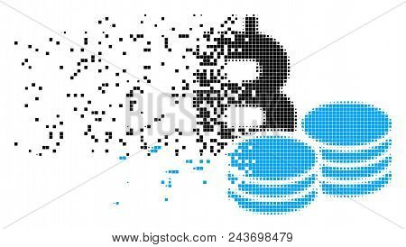 Dispersed Bitcoin coins dot vector icon with erosion effect. Rectangle particles are combined into dissipated Bitcoin coins figure. stock photo