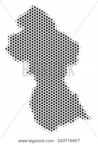 Honeycomb Guyana map. Vector halftone territorial plan on a white background. Abstract Guyana map concept is made with hex tile cells. stock photo