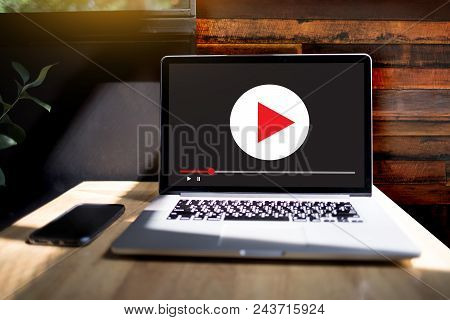 Laptop with blank screen on table. Workspace background new project on laptop computer with blank copy space screen for your advertising text message stock photo