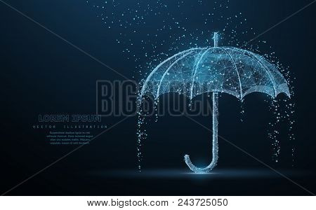 Vector umbrella rain protection. Abstract wire low poy umbrella cover in rain illustration on dark blue background with water fall drops. Meteorology, safety, autumn season concept stock photo