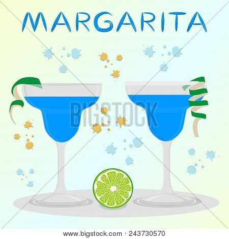 Vector icon illustration logo for alcohol cocktails margarita from citrus lime. Margarita consisting of full glass cup with transparent cocktail of green limes. Cocktail of cubes ice in glassware. stock photo