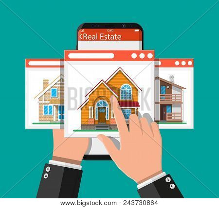 Mobile smart phone with rent and sell apartments app. Real estate, sale and rent house, mansion. Vector illustration in flat style stock photo