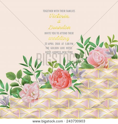 Floral wedding invitation with gold geometric element, flowers, herb in watercolor style on pink marble background. Greenery template with text place for invite, greeting, birthday card, covers. stock photo