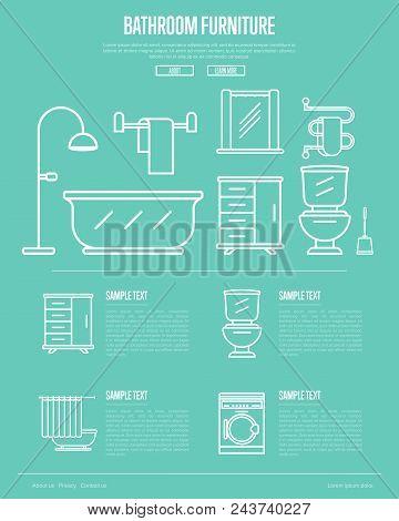 Bathroom furniture poster with washing machine, shower cabin, toilet, bathtub, towel dryer, washbasin elements linear style. Home interior design, modern apartment decoration illustration. stock photo