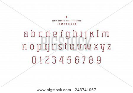 Stencil-plate serif font. Thin line face. Lowercase letters and numbers with rough texture for logo and emblem design. Red print on white background stock photo