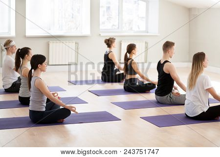 Group of young yogi people practicing yoga lesson in gym, doing Sukhasana exercise, Easy Seat pose, working out indoor full length, students training in sport club, studio. Wellness, wellbeing concept stock photo