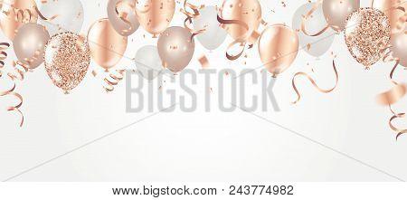 Happy Birthday Vector Illustration. Confetti And Ribbons Gold Orange Balloon, Confetti, Design Templ