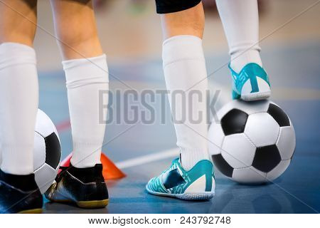 Indoor Soccer Players Training With Balls. Indoor Soccer Sports Hall. Football Futsal Player, Ball,