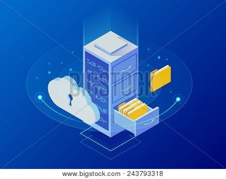 Isometric Cloud Computing Concept Represented By A Server, With A Cloud Representation Hologram Conc