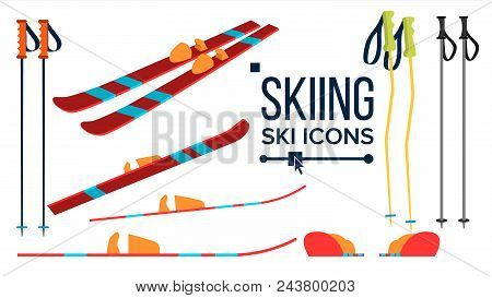 Skiing Icons Vector. Different View. Winter Sport Equipment. Equipment. Mountain Vacation, Activity, Travel Flat Illustration stock photo