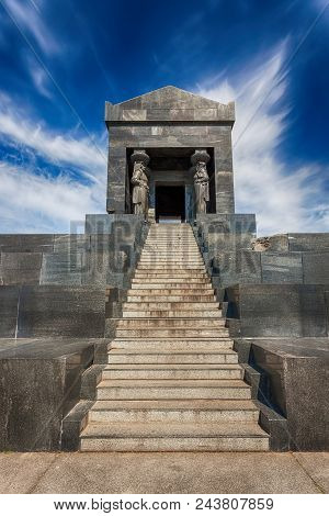 Monument to the Unknown Hero. Complex with 8 caryatids in national costumes, representing the unity of all nationalities in the Kingdom of Yugoslavia. Avala mountain, Belgrade, Serbia. stock photo