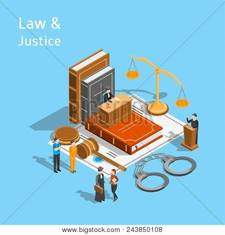Law Justice Composition Concept 3d Isometric View Include of Court, Judge, Lawyer, Gavel, Legislation and Handcuff. Vector illustration stock photo