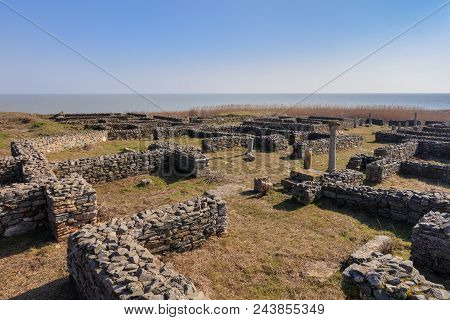 Roman ruins of Histria citadel. Dobrogea Romania stock photo