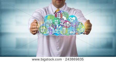 Unrecognizable male pharmaceutical research scientist is protecting applications in the cloud. Pharma IT concept for managed services, mobile and cloud computing, data management, safeguarding. stock photo