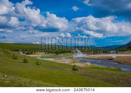 Firehole River near Grand Prismatic Spring in Yellowstone National Park, Wyoming, USA. stock photo