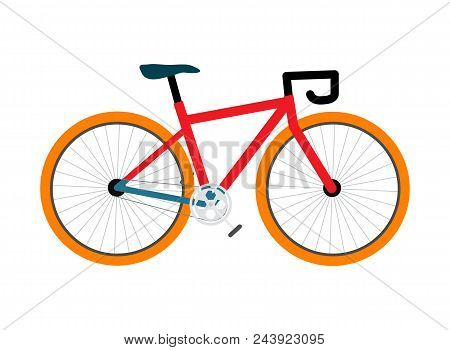Bicycle pedal-driven colorful single-track vehicle, helping you to keep fit and be more active, vector illustration isolated on white background stock photo