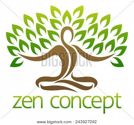 Conceptual design element of a tree in the shape of a figure sitting crossed legged in a zen yoga lotus position or meditating crossed legged stock photo