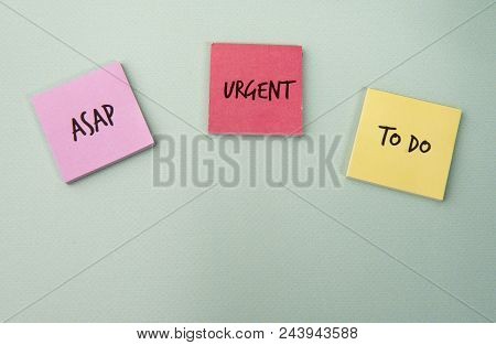 Background image of sticky notes with tasks, taken with copy space stock photo