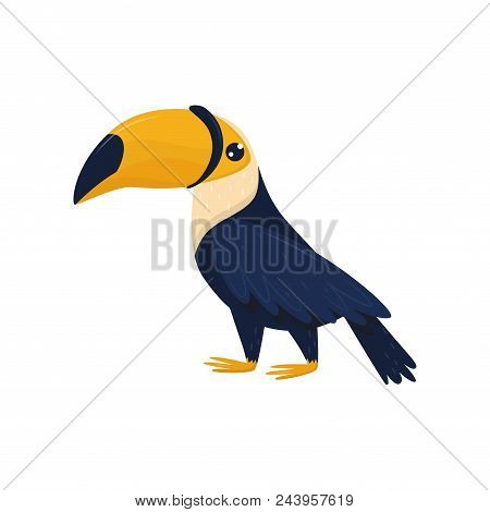 Cartoon character of toucan. Tropical bird with big brightly orange beak. Fauna theme. Colorful decorative element for promo poster of travel agency. Flat vector design isolated on white background. stock photo