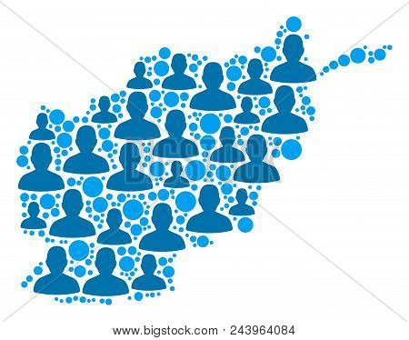 Population Afghanistan map. Demography vector concept of Afghanistan map done of random human items and small points. Abstract social scheme of nation group cartography. stock photo