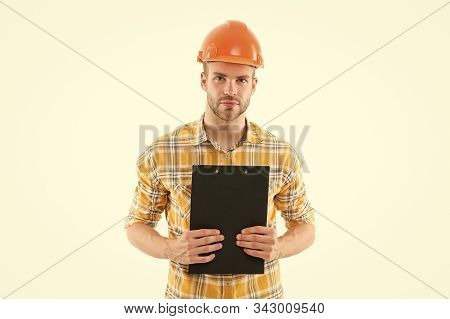 General plan. Repair service. Repair and renovation concept. Home improvement. Man in helmet on white background. Engineer occupation. Repair workshop. Handyman home repair. Repairing and renovating. stock photo