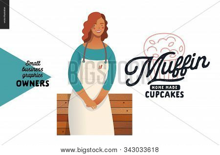 Muffins, home made cupcakes -small business owners graphics -owner. Modern flat vector concept illustrations - young woman wearing white apron, standing at the wooden counter. Shop logo stock photo