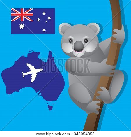 Animal Koala Australia, the aircraft branch of the Australian flag on isolated background. Vector image eps 10 stock photo
