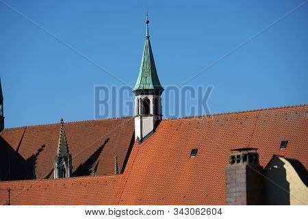 Regensburg is a city in Bavaria with a very well preserved old town and many churches stock photo