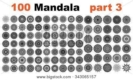 various mandala collections - 100. Ethnic Mandala ornament. Round pattern set. Templates with doodle tribal mandalas. illustration line art ornate brochure. stock photo