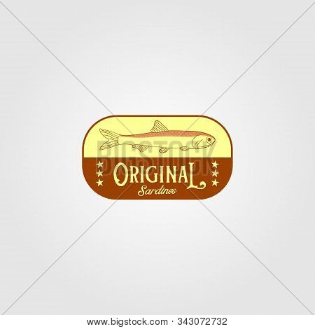 original sardine fish vintage logo label emblem packaging vector icon seafood design stock photo