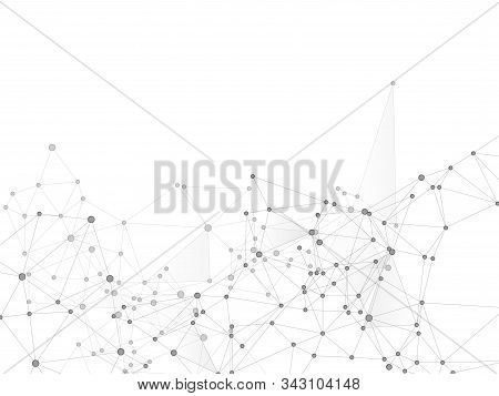 Block chain global network technology concept. Network nodes greyscale plexus background. Circle nodes and line elements. Nanotechnology backdrop. Global data exchange blockchain vector. stock photo