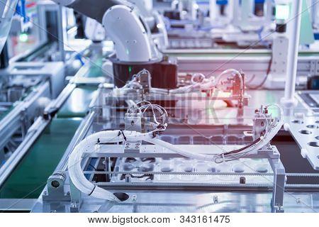robotic pneumatic input to robot handle grip handle stock photo