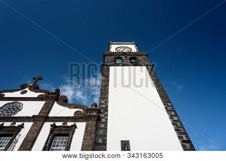 view of the main church of ponta delgada, sao miguel, azores. stock photo